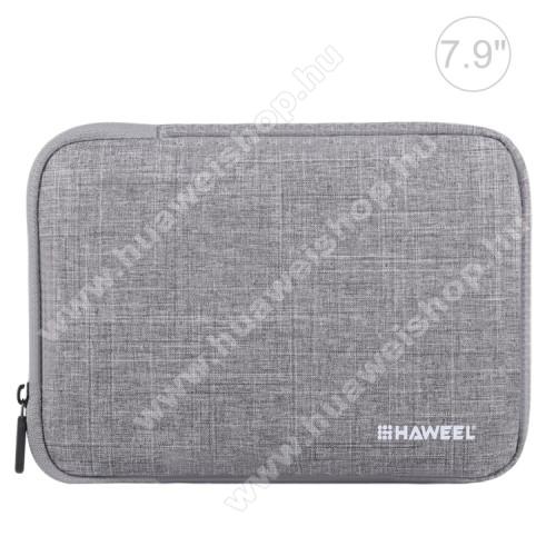 HAWEEL Tablet / Laptop UNIVERZÁLIS tok / táska - SZÜRKE - Szövet, bársony belső, 2 különálló zsebbel, ütődésálló, vízálló - ERŐS VÉDELEM! - 21 x 14,5 x 2 cm