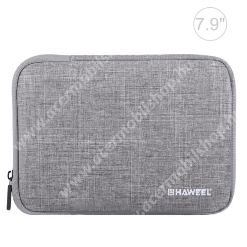 """ACER Iconia Tab A1-811 HAWEEL Tablet / Laptop UNIVERZÁLIS tok / táska - SZÜRKE - Szövet, bársony belső, 2 különálló zsebbel, ütődésálló, vízálló - ERŐS VÉDELEM! - 7,9""""-os készülékekig használható, 210 x 145 x 20 mm"""