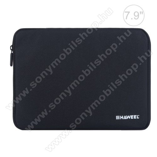 HAWEEL Tablet / Laptop UNIVERZÁLIS tok / táska - FEKETE - Szövet, bársony belső, 2 különálló zsebbel, ütődésálló, vízálló - ERŐS VÉDELEM! - 21 x 14,5 x 2 cm