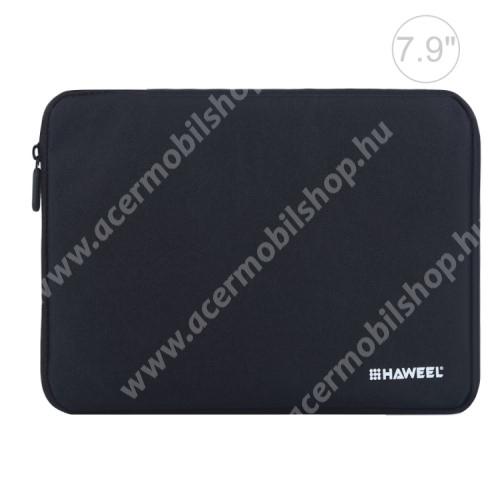 """ACER Iconia Tab A1-811 HAWEEL Tablet / Laptop UNIVERZÁLIS tok / táska - FEKETE - Szövet, bársony belső, 2 különálló zsebbel, ütődésálló, vízálló - ERŐS VÉDELEM! - 7,9""""-os készülékekig használható, 210 x 145 x 20 mm"""