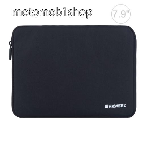 """HAWEEL Tablet / Laptop UNIVERZÁLIS tok / táska - FEKETE - Szövet, bársony belső, 2 különálló zsebbel, ütődésálló, vízálló - ERŐS VÉDELEM! - 7,9""""-os készülékekig használható, 210 x 145 x 20 mm"""
