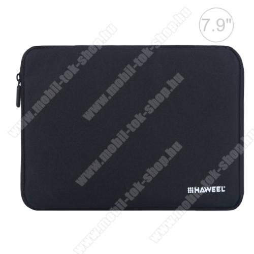 HAWEEL Tablet / Laptop UNIVERZÁLIS tok / táska - FEKETE - Szövet, bársony belső, 2 különálló zsebbel, ütődésálló, vízálló - ERŐS VÉDELEM! - 7,9