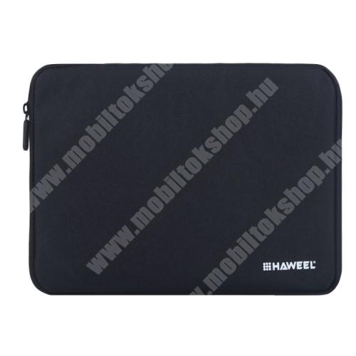 """HAWEEL Tablet / Laptop UNIVERZÁLIS tok / táska - FEKETE - Szövet, bársony belső, 2 különálló zsebbel, ütődésálló, vízálló - ERŐS VÉDELEM! - 9,7""""-os készülékekig használható"""