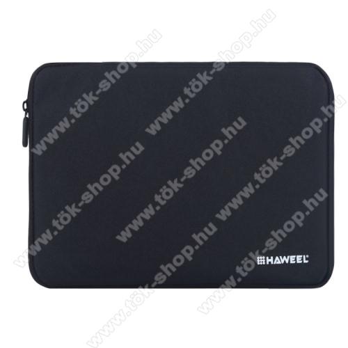 HAWEEL Tablet / Laptop UNIVERZÁLIS tok / táska - FEKETE - Szövet, bársony belső, 2 különálló zsebbel, ütődésálló, vízálló - ERŐS VÉDELEM! - 9,7
