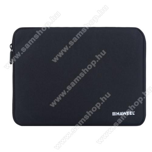 SAMSUNG Galaxy Tab S2 9.7 (SM-T810 / SM-T815)HAWEEL Tablet / Laptop UNIVERZÁLIS tok / táska - FEKETE - Szövet, bársony belső, 2 különálló zsebbel, ütődésálló, vízálló - ERŐS VÉDELEM! - 9,7