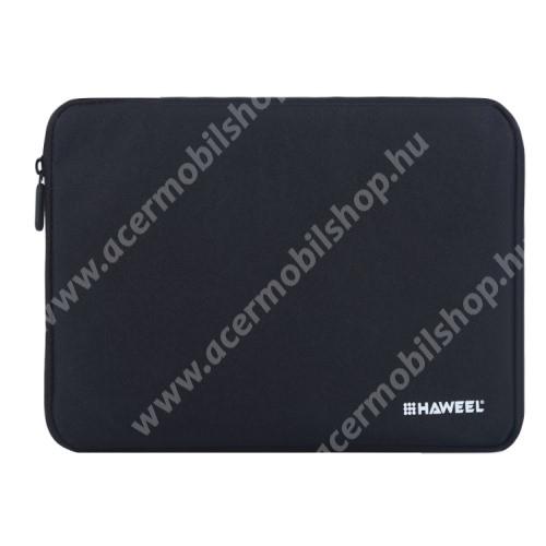 """HAWEEL Tablet / Laptop UNIVERZÁLIS tok / táska - FEKETE - Szövet, bársony belső, 2 különálló zsebbel, ütődésálló, vízálló - ERŐS VÉDELEM! - 9,7""""-os készülékekig használható, 250 x 180 x 20 mm"""