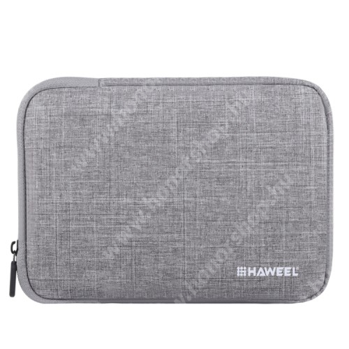 """HAWEEL Tablet / Laptop UNIVERZÁLIS tok / táska - SZÜRKE - Szövet, bársony belső, 2 különálló zsebbel, ütődésálló, vízálló - ERŐS VÉDELEM! - 9,7""""-os készülékekig használható, 250 x 180 x 20 mm"""