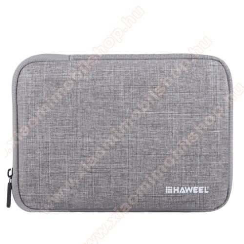 HAWEEL Tablet / Laptop UNIVERZÁLIS tok / táska - SZÜRKE - Szövet, bársony belső, 2 különálló zsebbel, ütődésálló, vízálló - ERŐS VÉDELEM! - 9,7