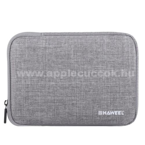 APPLE iPad Pro 9.7 (2016)HAWEEL Tablet / Laptop UNIVERZÁLIS tok / táska - SZÜRKE - Szövet, bársony belső, 2 különálló zsebbel, ütődésálló, vízálló - ERŐS VÉDELEM! - 9,7