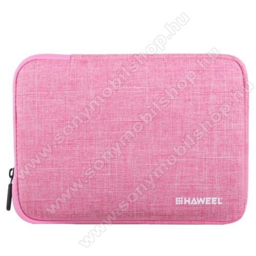 HAWEEL Tablet / Laptop UNIVERZÁLIS tok / táska - RÓZSASZÍN - Szövet, bársony belső, 2 különálló zsebbel, ütődésálló, vízálló - ERŐS VÉDELEM! - 9,7
