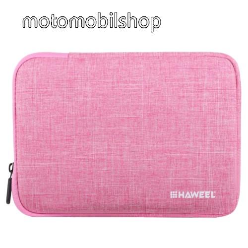 """HAWEEL Tablet / Laptop UNIVERZÁLIS tok / táska - RÓZSASZÍN - Szövet, bársony belső, 2 különálló zsebbel, ütődésálló, vízálló - ERŐS VÉDELEM! - 9,7""""-os készülékekig használható, 250 x 180 x 20 mm"""