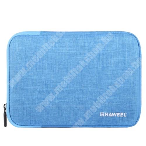 """HAWEEL Tablet / Laptop UNIVERZÁLIS tok / táska - KÉK - Szövet, bársony belső, 2 különálló zsebbel, ütődésálló, vízálló - ERŐS VÉDELEM! - 9,7""""-os készülékekig használható, 250 x 180 x 20 mm"""