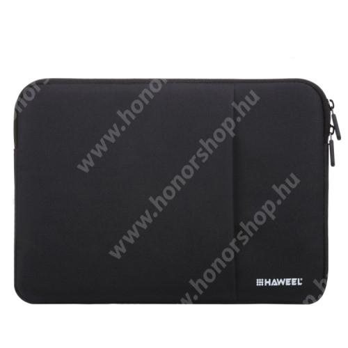 """HAWEEL Tablet / Laptop UNIVERZÁLIS tok / táska - FEKETE - Szövet, bársony belső, 2 különálló zsebbel, ütődésálló, vízálló - ERŐS VÉDELEM! - 15""""-os készülékekig használható, Külső méret: 370 x 265 x 20mm, Belső méret: 360 x 255 x 20mm"""