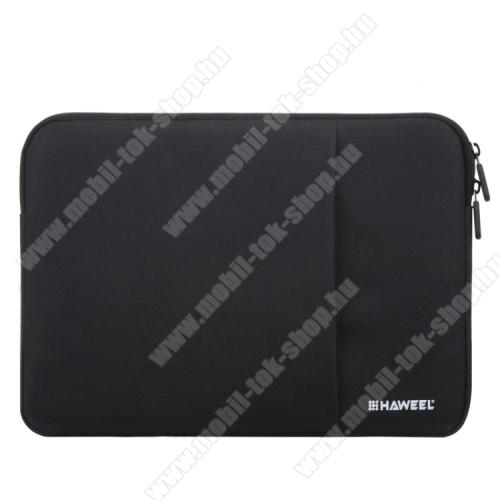 HAWEEL Tablet / Laptop UNIVERZÁLIS tok / táska - FEKETE - Szövet, bársony belső, 2 különálló zsebbel, ütődésálló, vízálló - ERŐS VÉDELEM! - 15