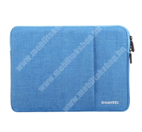 """HAWEEL Tablet / Laptop UNIVERZÁLIS tok / táska - KÉK - Szövet, bársony belső, 2 különálló zsebbel, ütődésálló, vízálló - ERŐS VÉDELEM! - 15""""-os készülékekig használható, Külső méret: 370 x 265 x 20mm, Belső méret: 360 x 255 x 20mm"""