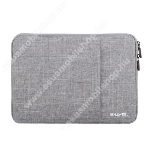 HAWEEL Tablet / Laptop UNIVERZÁLIS tok / táska - SZÜRKE - Szövet, bársony belső, 2 különálló zsebbel, ütődésálló, vízálló - ERŐS VÉDELEM! - 15