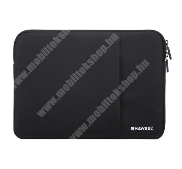 """HAWEEL Tablet / Laptop UNIVERZÁLIS tok / táska - FEKETE - Szövet, bársony belső, 2 különálló zsebbel, ütődésálló, vízálló - ERŐS VÉDELEM! - 13""""-os készülékekig használható, Külső méret: 350 x 240 x 20mm, Belső méret: 340 x 230 x 20mm"""