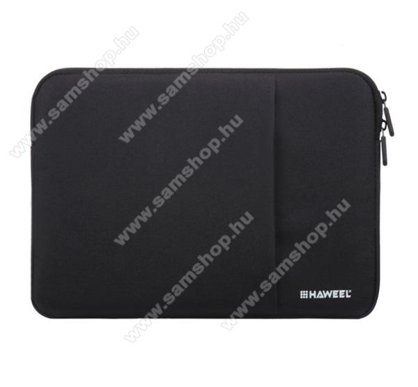 HAWEEL Tablet / Laptop UNIVERZÁLIS tok / táska - FEKETE - Szövet, bársony belső, 2 különálló zsebbel, ütődésálló, vízálló - ERŐS VÉDELEM! - 13