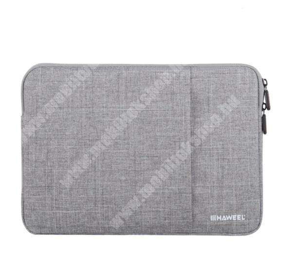 """HAWEEL Tablet / Laptop UNIVERZÁLIS tok / táska - SZÜRKE - Szövet, bársony belső, 2 különálló zsebbel, ütődésálló, vízálló - ERŐS VÉDELEM! - 13""""-os készülékekig használható, Külső méret: 350 x 240 x 20mm, Belső méret: 340 x 230 x 20mm"""
