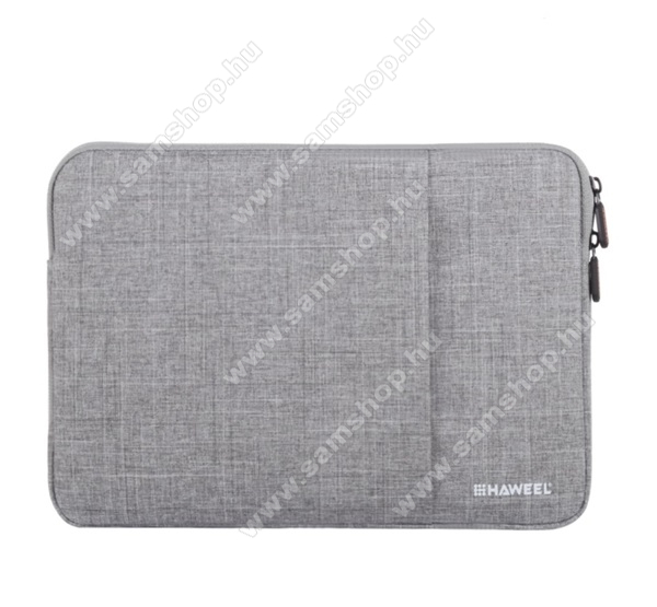 HAWEEL Tablet / Laptop UNIVERZÁLIS tok / táska - SZÜRKE - Szövet, bársony belső, 2 különálló zsebbel, ütődésálló, vízálló - ERŐS VÉDELEM! - 13