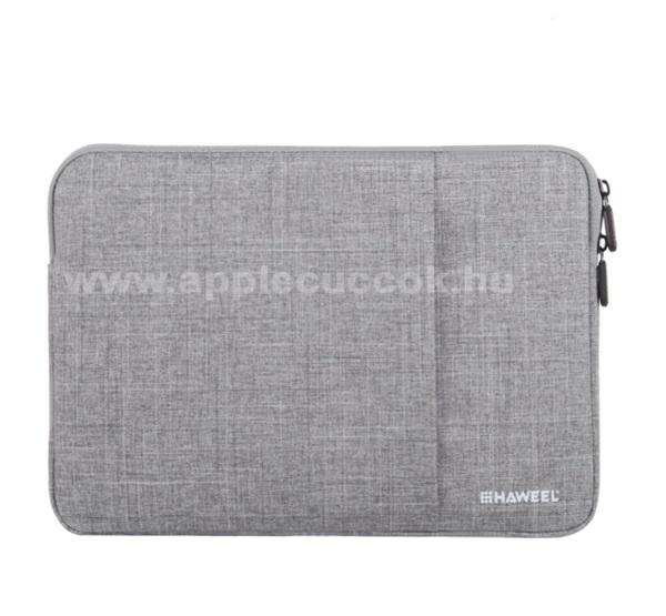 APPLE iPad Pro 12.9 (2017)HAWEEL Tablet / Laptop UNIVERZÁLIS tok / táska - SZÜRKE - Szövet, bársony belső, 2 különálló zsebbel, ütődésálló, vízálló - ERŐS VÉDELEM! - 13
