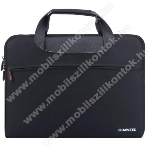 HAWEEL UNIVERZÁLIS Laptop tok / táska - FEKETE - vízálló szövet, bársony belső, különálló zsebekkel, dupla cipzár, ütődésálló, hordozható - ERŐS VÉDELEM! - 425 x 320 x 250mm - Max 15
