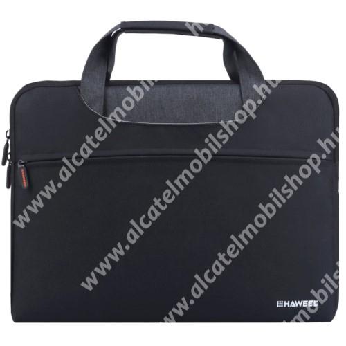 """HAWEEL UNIVERZÁLIS Laptop tok / táska - FEKETE - vízálló szövet, bársony belső, különálló zsebekkel, dupla cipzár, ütődésálló, hordozható - ERŐS VÉDELEM! - 415 x 320 x 250mm - Max 15""""-os készülékekhez"""