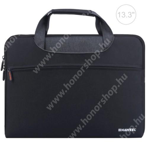 """HAWEEL UNIVERZÁLIS Laptop tok / táska - FEKETE - vízálló szövet, bársony belső, különálló zsebekkel, dupla cipzár, ütődésálló, hordozható - ERŐS VÉDELEM! - 355 x 260 x 250mm - Max 13,3""""-os készülékekhez"""