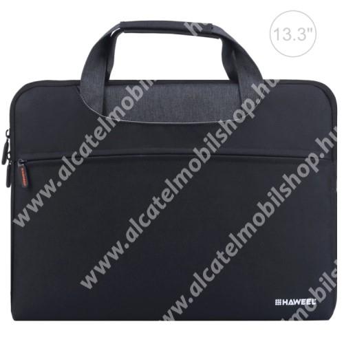 """HAWEEL UNIVERZÁLIS Laptop tok / táska - FEKETE - vízálló szövet, bársony belső, különálló zsebekkel, dupla cipzár, ütődésálló, hordozható - ERŐS VÉDELEM! - 360 x 275 x 250mm - Max 13,3""""-os készülékekhez"""