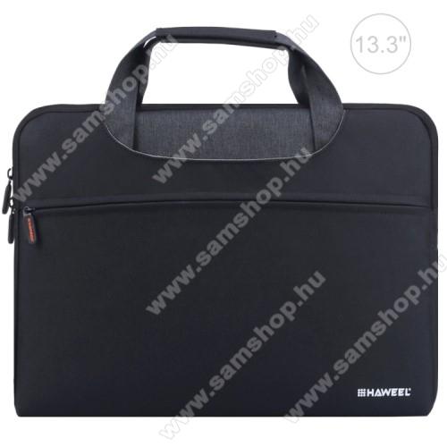 HAWEEL UNIVERZÁLIS Laptop tok / táska - FEKETE - vízálló szövet, bársony belső, különálló zsebekkel, dupla cipzár, ütődésálló, hordozható - ERŐS VÉDELEM! - 355 x 260 x 250mm - Max 13,3
