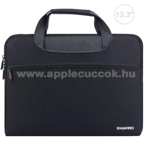 APPLE iPad Pro 12.9 (2017)HAWEEL UNIVERZÁLIS Laptop tok / táska - FEKETE - vízálló szövet, bársony belső, különálló zsebekkel, dupla cipzár, ütődésálló, hordozható - ERŐS VÉDELEM! - 355 x 260 x 25mm - Max 13,3