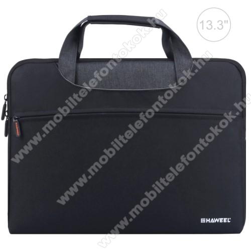 HAWEEL UNIVERZÁLIS Laptop tok / táska - FEKETE - vízálló szövet, bársony belső, különálló zsebekkel, dupla cipzár, ütődésálló, hordozható - ERŐS VÉDELEM! - 360 x 275 x 250mm - Max 13,3