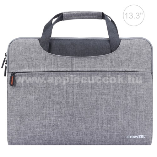 APPLE iPad Pro 12.9 (2017)HAWEEL UNIVERZÁLIS Laptop tok / táska - SZÜRKE - vízálló szövet, bársony belső, különálló zsebekkel, dupla cipzár, ütődésálló, hordozható - ERŐS VÉDELEM! - 355 x 260 x 25mm - Max 13,3