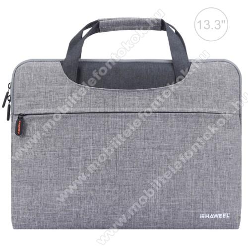 HAWEEL UNIVERZÁLIS Laptop tok / táska - SZÜRKE - vízálló szövet, bársony belső, különálló zsebekkel, dupla cipzár, ütődésálló, hordozható - ERŐS VÉDELEM! - 355 x 260 x 25mm - Max 13,3