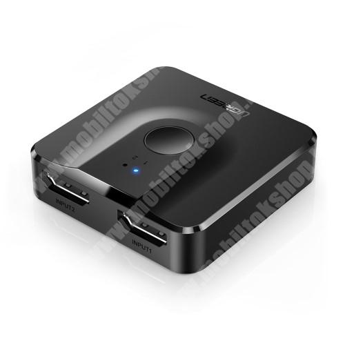 LG G4c (H525N) HDMI elosztó adapter / Splitter - 2x HDMI anya bemenet, 1x HDMI anya kimenet, v1.4, gombnyomásra váltható, 4K támogatás - FEKETE