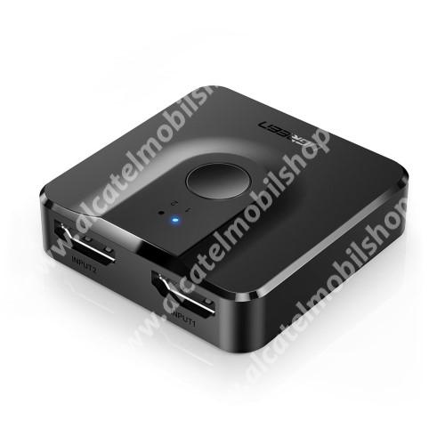 ALCATEL OTE 301 HDMI elosztó adapter / Splitter - 2x HDMI anya bemenet, 1x HDMI anya kimenet, v1.4, gombnyomásra váltható, 4K támogatás - FEKETE
