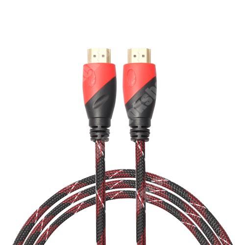 MOTOROLA Moto G4 HDMI-HDMI KÁBEL - v1.4 HDMI dugó - HDMI dugó, 5m hosszú, szövet borítású  - FEKETE / PIROS