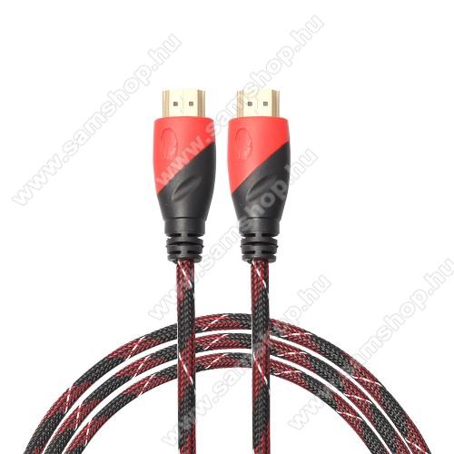 HDMI-HDMI KÁBEL - v1.4 HDMI dugó - HDMI dugó, 5m hosszú, szövet borítású  - FEKETE / PIROS
