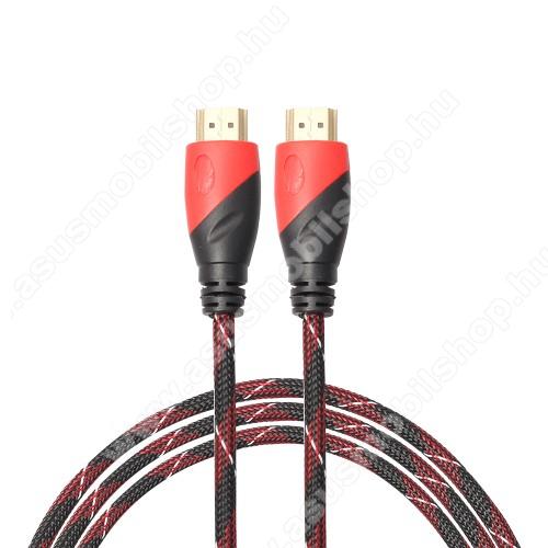 ASUS Zenfone 2 Laser (ZE500KL)HDMI-HDMI KÁBEL - v1.4 HDMI dugó - HDMI dugó, 5m hosszú, szövet borítású  - FEKETE / PIROS