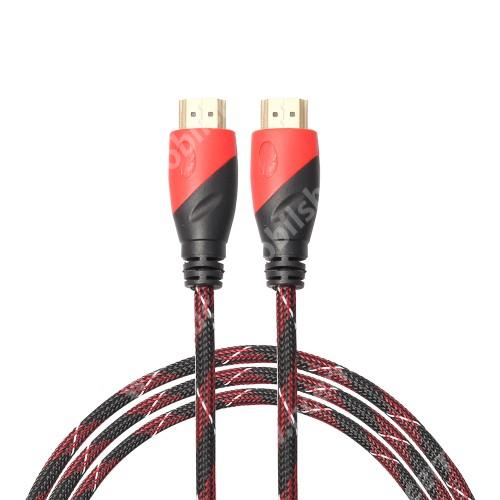 ACER Liquid Z3 HDMI-HDMI KÁBEL - v1.4 HDMI dugó - HDMI dugó, 5m hosszú, szövet borítású  - FEKETE / PIROS