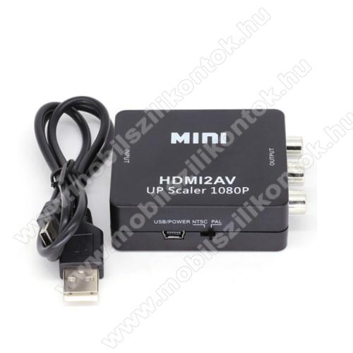 HDMI / RCA adapter - HDMI digitális jelet alakítja át RCA analóg jelre, támogatja az 1080P kimentet, NTSC / PAL támogatás - FEKETE
