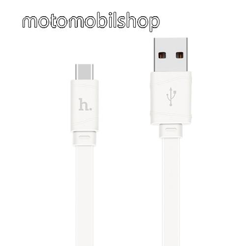 MOTOROLA Moto Z2 Play HOCO 2.4A adatátviteli kábel / USB töltő - USB 3.1 Type C, 1m, lapos kivitel - FEHÉR