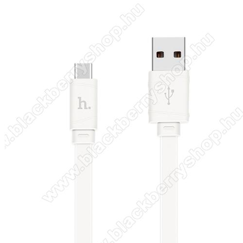 HOCO 2.4A adatátviteli kábel / USB töltő - USB 3.1 Type C, 1m, lapos kivitel - FEHÉR