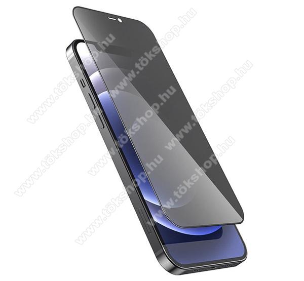 HOCO A21 Privacy Anti-peep előlap védő karcálló edzett üveg - FEKETE - 9H, 0.33mm, betekintés elleni védelemmel, A TELJES KIJELZŐT VÉDI! - APPLE iPhone 12 mini - GYÁRI