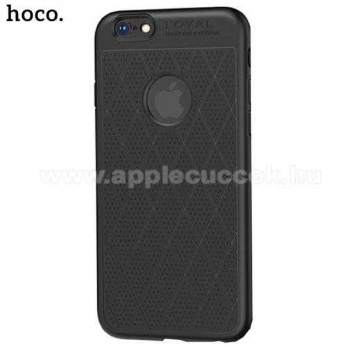 HOCO ADMIRE szilikon védő tok / hátlap (ultravékony, 0.8 mm, lyukacsos, rombusz minta, logó kivágás) FEKETE - APPLE iPhone 6 Plus 5.5 / APPLE iPhone 6S Plus 5.5 - GYÁRI