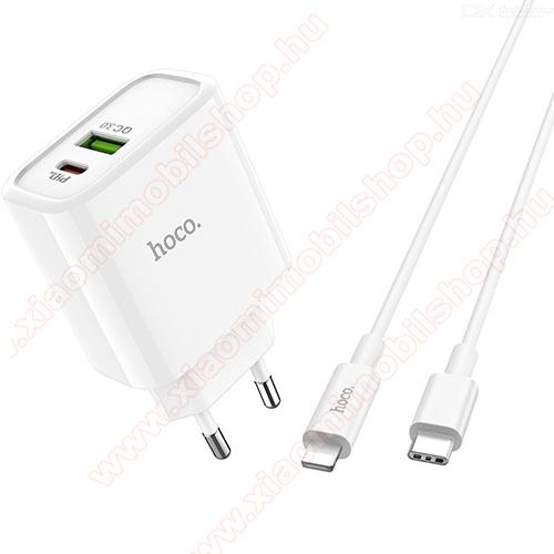 HOCO C57A SPEED hálózati töltő 1x USB aljzat + 1x Type-C aljzat - 18W, USB: 5V/3A; 9V/2.0A; 12V/1.5A, Type-C: 5V/2A; 9V/2A; 12V/1.5A, PD gyorstöltés támogatás, Lightning / Type-C kábellel - FEHÉR - GYÁRI