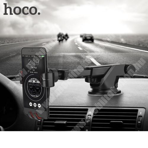 LG GS101 HOCO CA24 autós tartó / állvány - 360°-ban forgatható, 9,6-14cm-ig állítható teleszkópos kar, tapadókorongos - FEKETE - GYÁRI