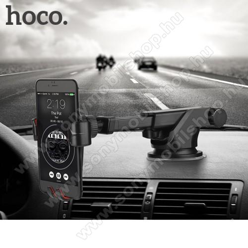 SONY Xperia E4g (E2003 / E2006 / E2053)HOCO CA24 autós tartó / állvány - 360°-ban forgatható, 9,6-14cm-ig állítható teleszkópos kar, tapadókorongos - FEKETE - GYÁRI
