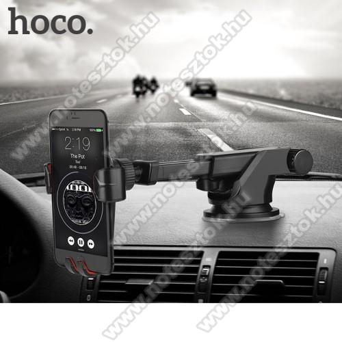 OPPO R17HOCO CA24 autós tartó / állvány - 360°-ban forgatható, 9,6-14cm-ig állítható teleszkópos kar, tapadókorongos - FEKETE - GYÁRI
