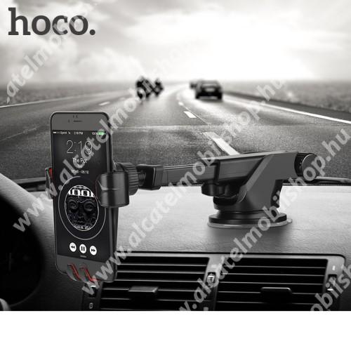 ALCATEL A3 XL HOCO CA24 autós tartó / állvány - 360°-ban forgatható, 9,6-14cm-ig állítható teleszkópos kar, tapadókorongos - FEKETE - GYÁRI